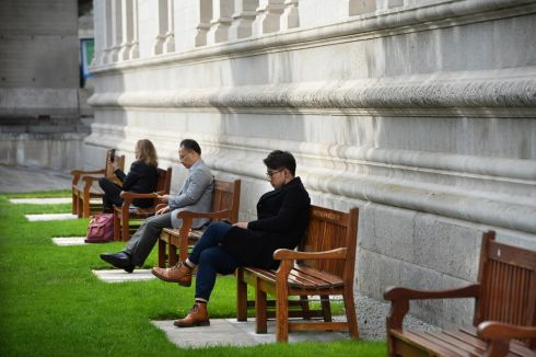 TAKE A BREAK: People relaxing at Trinity College Dublin. Photograph: Dara Mac Dónaill