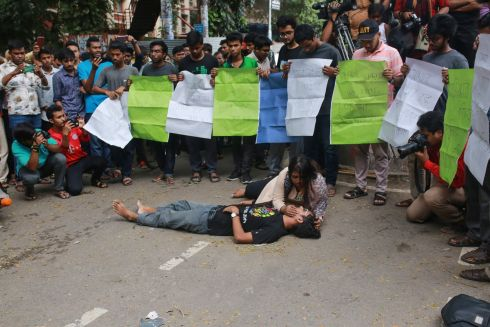DHAKA: Students of Bangladesh University of Engineering and Technology stage a street protest drama in Dhaka, after a pupil was allegedly beaten to death by ruling party activists. Photograph: Rehman Asad/AFP via Getty Images