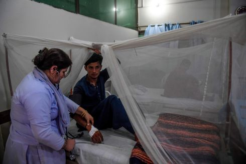 PAKISTAN: A doctor checks on a patient suffering from dengue fever under a net as he is treated at a government hospital in Karachi. Photograph: Asif Hassan/AFP via Getty Images