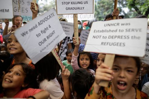 UN PROTEST: Young refugees protest outside of the office of the United Nations High Commissioner for Refugees in Jakarta, Indonesia, demanding proper shelters. Photograph: Mast Irham/EPA