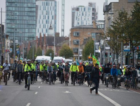 SLOW AND STEADY: I Bike Dublin led a slow cycle through the city centre, in solidarity with Extinction Rebellion's week of direct action on climate change. Photograph: Dave Meehan