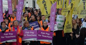 Teachers from the Teachers' Union of Ireland as well as the INTO and ASTI protesting over pay equalisation in 2018. Photograph: Alan Betson