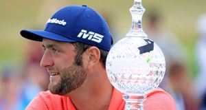 Spanish golfer Jon Rahm who won the  2019 Dubai Duty Free Irish Open at Lahinch Golf Club. Photograph: Donall Farmer/PA Wire.