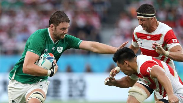 Ireland's Iain Henderson in action during the Rugby World Cup 2019 Group A game against Japan at Ecopa Stadium in Fukuroi. Photograph: Stu Forster/Getty Images