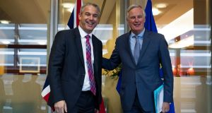 UK Brexit secretary Stephen Barclay is welcomed by EU chief Brexit negotiator Michel Barnier in Brussels. Photograph: Francisco Seco/AP Pool.