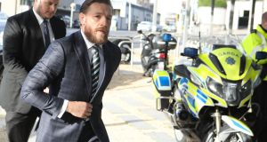Conor McGregor arriving at the Criminal Courts of Justice  on Dublin's Parkgate Street on Friday. Photograph: Collins