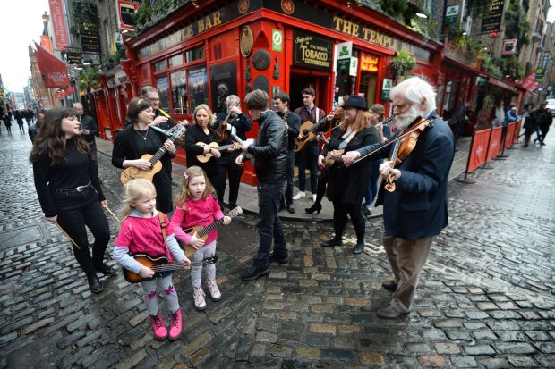 Dubliner John Sheahan with young music fans Kate Mulcahy and Lily Bourke, both from Donabate, folk singer Muireann McDonnell and Ryan O'Shaughnessy ahead of the 2019 TradFest. Photograph: Dara Mac Donaill/ The Irish Times