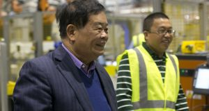 Cho Tak Wong, chairman (left) and Jimmy Wang, vice president, at Fuyao Glass in Moraine, Ohio. Photograph: Andrew Spear for The Washington Post/Getty Images)
