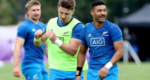 Beauden Barrett and Richie Mo'unga run through drills during a New Zealand training session at the Arcs Urayasu Park  in Urayasu on Friday. Photograph: Hannah Peters/Getty Images