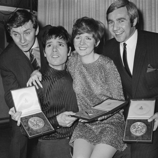 Phil Coulter with Cliff Richard, Cilla Black and Bill Martin celebrate winning Eurovision in 1968. Photograph: John Downing/Daily Express/Getty