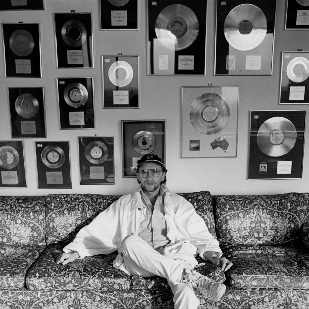 Phil Coulter and a wall of gold records in 1984. Photograph: Tim Roney/Radio Times/Getty