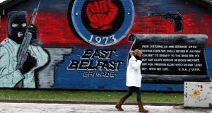 A loyalist mural on the Newtownards Road in Belfast, as leaders of the UDA confirmed it had decommissioned all weapons under its control
