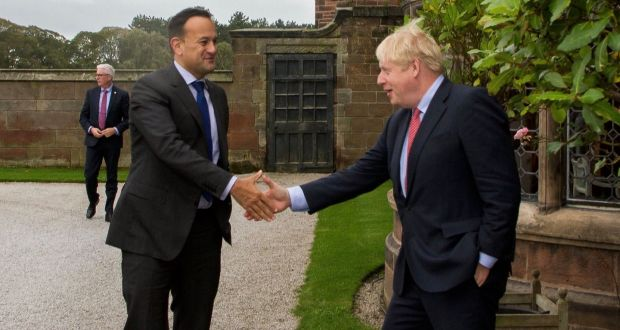 Taoiseach Leo Varadkar meeting UK prime minister Boris Johnson at Thornton Manor Hotel, on The Wirral, Cheshire on Thursday, ahead of private talks in a bid to break the Brexit deadlock. Photograph: PA