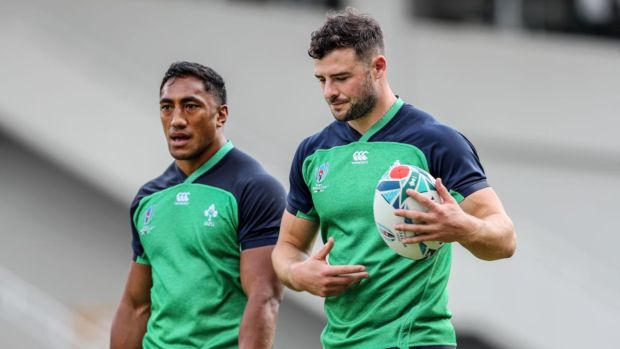Robbie Henshaw will play alongside Bundee Aki in midfield as he plays his first game in the Rugby World Cup against Samoa. Photograph: Dan Sheridan/Inpho