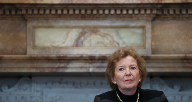 Former president Mary Robinson is pictured in Iveagh House in Dublin where she delivered the Michael Sweetman Memorial Lecture on Friday. Photograph: Nick Bradshaw/The Irish Times