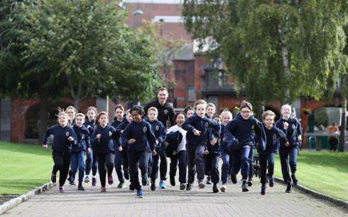 RUNNING NOTES: Gold medallist David Gillick goes on the run with the children of St Patrick's Cathedral Choir School. The children of St Patrick's Cathedral Choir School in Dublin - the oldest school in Ireland - are swapping their church robes for running gear as athlete David Gillick arrives to give them the run around. The Choir School included A. Wrixon, S. Wright, N. Wright, R. Imbrisca, R. Moss, J. Ingle Hobson, P. Ingle Hobson, F. Campion, V. Oxley, P. Naessens, D. Reynolds, A. Morales Espana, S. Lyden, J. Benson, O. Keogh, S. Harris George, C. Doljescu, E. Harte, J. O'Connor. Photograph Nick Bradshaw/The Irish Times