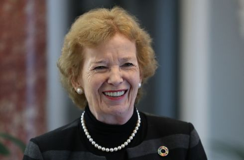 TRIBUTE: Former president of Ireland, Mary Robinson, delivered a keynote address and paid tribute to the life and contribution of the late Michael Sweetman at Michael Sweetman Memorial Lecture in Iveagh House in Dublin on Friday. Photograph: Nick Bradshaw/The Irish Times