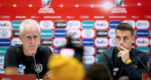 Manager Mick McCarthy and Seamus Coleman at a Republic of Ireland press conference in  Tbilisi, Georgia. Photograph:   Tommy Dickson/Inpho