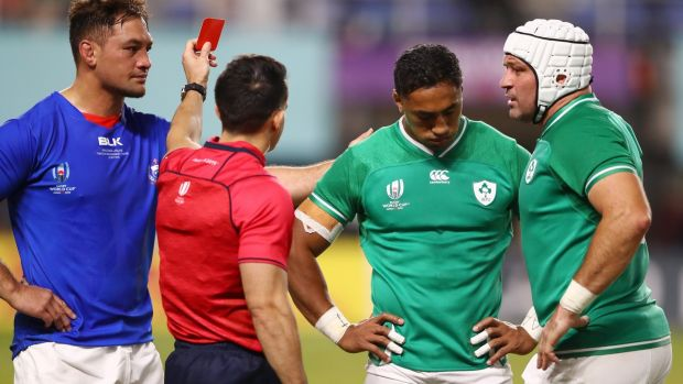 Referee Nic Berry shows Bundee Aki of Ireland a red card. Photograph: Getty Images
