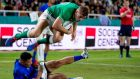 Ireland's Jordan Larmour on his way to scoring a try against Samoa. Photograph: Jayne Russell/Inpho