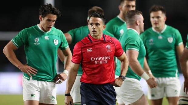 Referee Nic Berry during the Pool A game between Ireland and Samoa. Photograph: Shaun Botterill/Getty Images