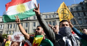 Kurdish community protest on O'Connell Street, Dublin in response to Turkey's attacks on Kurds of Syria. Photograph: Dara Mac Dónaill