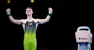 Ireland's Rhys McClenaghan of Ireland celebrates after his routine in men's pommel horse final at the FIG Artistic Gymnastics World Championships at the Hanns-Martin-Schleyer Halle in Stuttgart, Germany. Photograph: Laurence Griffiths/Getty Images