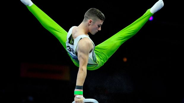 Ireland's Rhys McClenaghan performs at the pommel horse during the apparatus finals at the FIG Artistic Gymnastics World Championships at the Hanns-Martin-Schleyer Halle in Stuttgart. Photograph: Thomas Kienzle/AFP via Getty Images