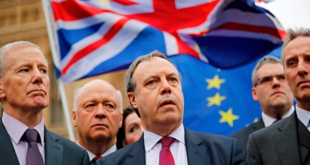 Nigel Dodds: 'Northern Ireland must stay in a full UK customs union, full stop'. Photograph: Tolga Akmen/AFP/Getty