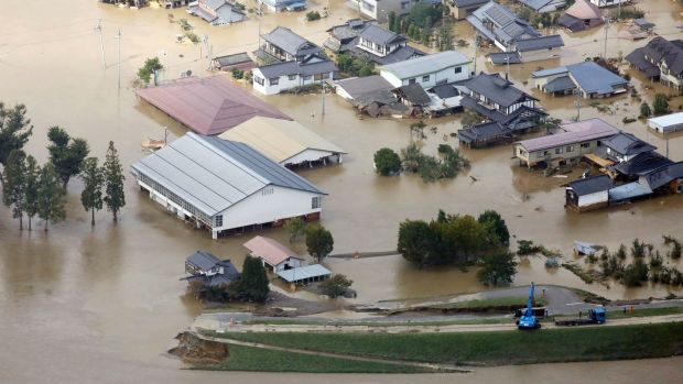 Flooding in Nagano, Nagano prefecture, Japan, on Sunday. Photograph: EPA/Jiji Press Japan
