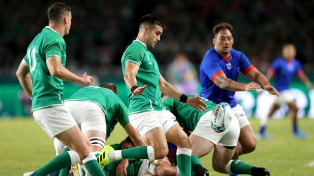 Conor Murray boxkicks during Ireland's comfortable win over Samoa. Photograph: Michael Steele/Getty