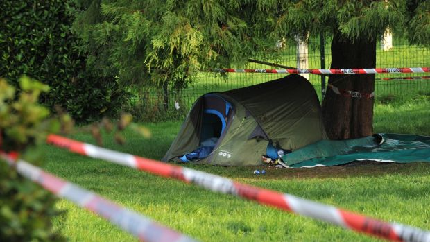The scene of a serious assault of a man at the Mardyke in Cork. The assault took place near a tent which was then set alight. Photograph: Provision