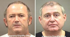 Igor Fruman and Lev Parnas were arrested by the FBI last Wednesday evening at Dulles International Airport in Washington. Photograph: Alexandria sheriff's office/New York Times
