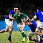 Samoa's Kane Le'Aupepe  and Chris Vui  tackle Ireland's Keith Earls  during the  Rugby World Cup Pool A match at  the Hakatanomori Stadium in Fukuoka. Photograph: Adam Davy/PA Wire