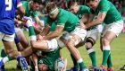 Ireland's Joey Carbery with Josh Van der Flier, Niall Scannell, Luke McGrath and Robbie Henshaw in the game against Samoa in Fukuoka City on Saturday. Photograph:  Dan Sheridan/Inpho