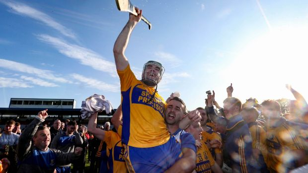 Sixmilebridge's Brian Carey celebrates after the victory over Cratloe at Cusack Park in Ennis. Photograph: Lorraine O'Sullivan/Inpho