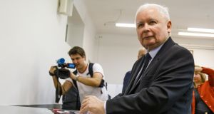 Jaroslaw Kaczynski, leader of the governing, right-wing Law and Justice political party. Photograph: Carsten Koall/Getty Images