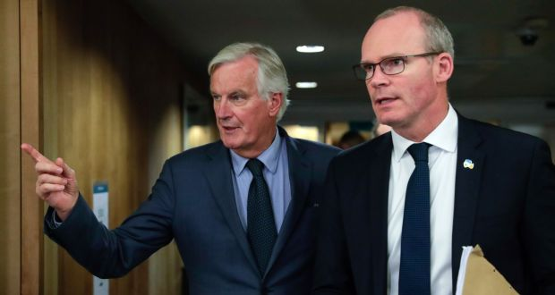 Tánaiste Simon Coveney and EU chief negotiator Michel Barnier at the EU Commission headquarters in Brussels, Belgium, last Tuesday. Photograph: Stephanie Lecocq/AFP/Getty Images.
