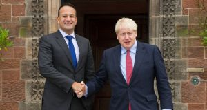 Leo Varadkar meeting with UK prime minister Boris Johnson at Thornton Manor Hotel last week. Photograph: PA
