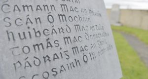 Thomas McDonagh, one of 41 IRA men who died during the War of Independence in Roscommon, remembered on a memorial outside Elphin. Photograph: Ronan McGreevy