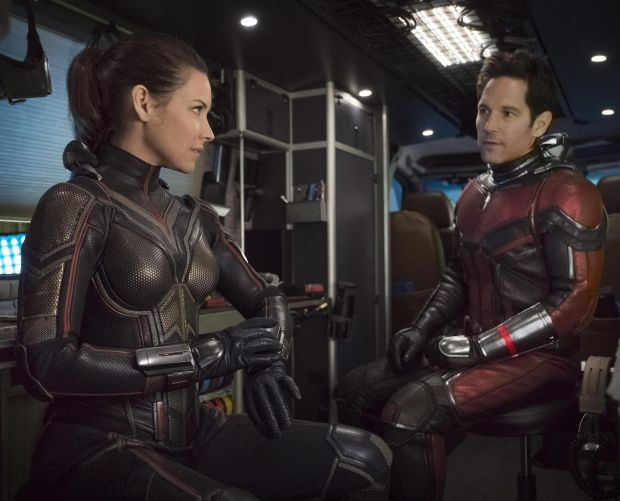 Paul Rudd with Evangeline Lilly in Ant-Man and the Wasp
