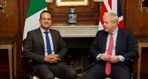 Taoiseach Leo Varadkar and  British prime minister Boris Johnson. Despite the cloud of Brexit hanging over the Irish economy, the survey found Irish SMEs were the fourth most optimistic about the performance of their domestic economy. Photograph:  Noel Mullen/AFP