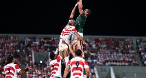 Japan's Michael Leitch and South Africa's  Eben Etzebeth compete for the ball at a lineout during warm-up match at Kumagaya Rugby Stadium in September. Photograph: Matt Roberts/Getty Images