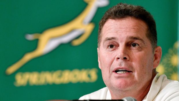 South Africa's coach Rassie Erasmus: 'After we played [Japan] in the warm-up game we thought they would be number one or two in their pool.' Photograph: Tsuyoshi Ueda/Kyodo News via AP