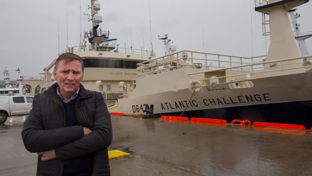 Eugene McBrearty, owner of the Killybegs Electrical Refrigeration Services group, pictured on Blackrock Pier where the Atlantic Challenge and many fishing vessels are tied up. Photograph: Brian Farrell/Irish Times