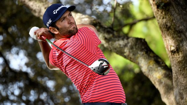 Spanish golfer Jon Rahm competes in the final day of the Mutuactivos Open de Espana golf tournament in Madrid. Photograph: Victor Lerena/EPA