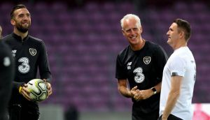 Shane Duffy,  manager Mick McCarthy and assistant manager Robbie Keane at Republic of Ireland squad training. Photograph: Ryan Byrne/Inpho