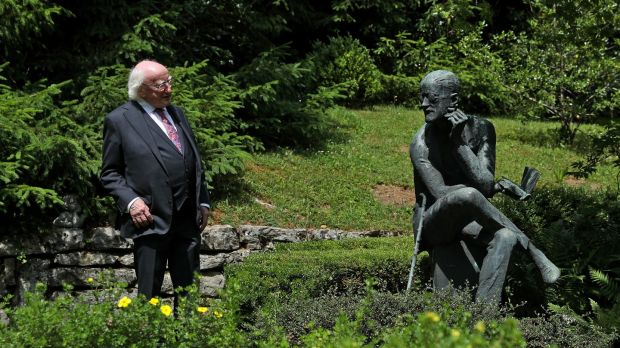 President Michael D Higgins at the grave of James Joyce at Fluntern Cemetery, Zurich, during a visit to Switzerland in June 2018. File photograph: Maxwell's