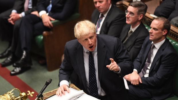 UK prime minister Boris Johnson speaking during a debate in the House of Commons in London on Monday. Photograph: UK Parliament.