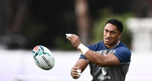 Ireland's Bundee Aki takes part in a training session at the Arcs Urayasu Park ahead of the Rugby World Cup quarter-final against New Zealand. Photo: Anne-Christine Poujoulat/Getty Images